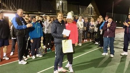 Linda Palmer presenting Sue Wiltshire with gift from players in thanks for organising what proved to