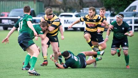 Hornets in action during their match with Sidmouth. Picture: MARK ATHERTON