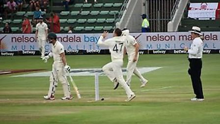 Dom Bess bowling from the Duckpond End during the third Test in Port Elizabeth where, when rain stop