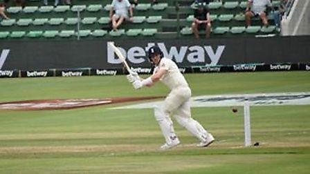 Dom Bess clips the ball away to score his first run nfor England in the Second Test at Port Elizabet