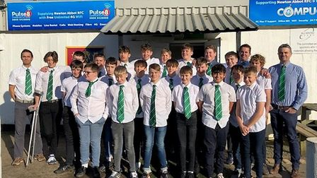 The Sidmouth Rugby U14 team at Newton Abbot. Picture: Sidmouth RFC