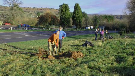 The first tree planting of 2020 in Sidmouth - Jon Ball, chairman, and Graham Hutchinson, chief plant