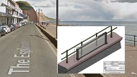 A glass panel will be installed on the existing sea wall to test it. Picture: Googel/East Devon Dist