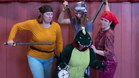 The cast in rehearsal for Ottery Community Theatre's pantomime, Peter's Pan.Picture: Ottery Communit