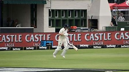 Dom Bess heading out to bat for England at Port Elizabeth, South Africa. Picture: CHRISTOPHER DEAN