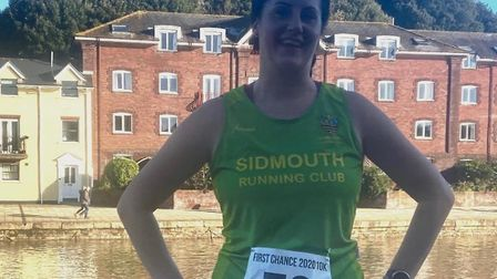 Sidmouth Running Club's Laura Broughton after the First Chance 10k 2020 at Exeter Quayside. Picture: