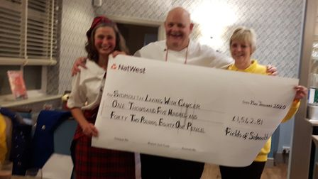 The cheque presentation at Fields. Picture: Sidmouth Living with Cancer
