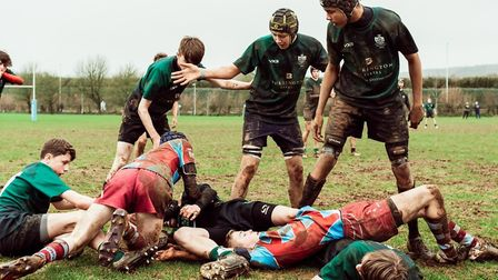 Action from the Sidmouth U15s game at Old Plymothian and Mannamedian. Picture: SIDMOUTH RFC