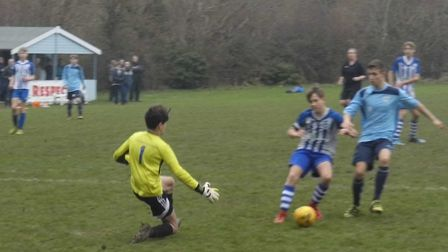 Ottery St Mary U14s goalkeeper Jack Hembrow in action during the teams 1-1 draw with West Exe Youth,
