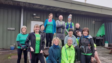 Some of The Sidmouth Mighty Green Running Club team before setting off from Dunkeswell on the Blackd