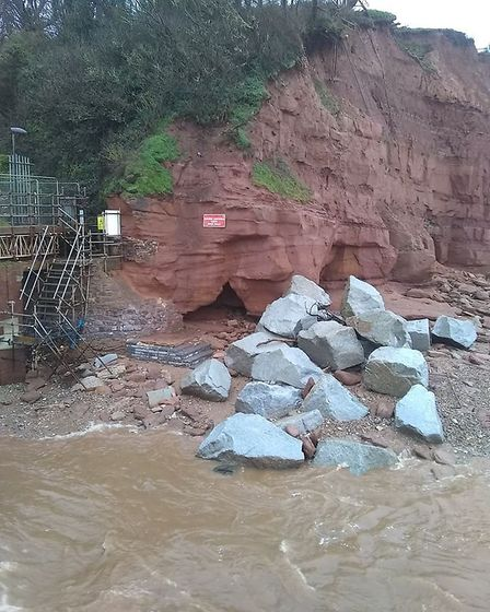 The steps and cave revealed on East Beach following the storms. Picture: Ed Dolphin