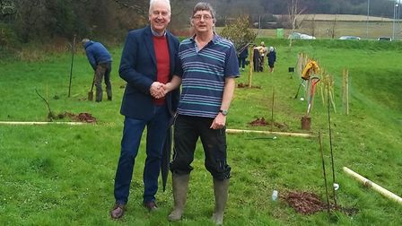 Andy Chapman, chief executive at The Exeter, and Jon Ball, Chairman of Sidmouth Arboretum Picture: E