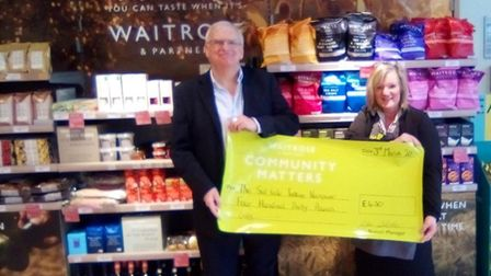 The talking newspaper association's vice-chairman, Graham Mallaband, and Waitrose community lead Jul
