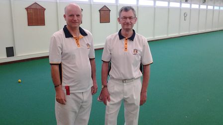Sidmouth bowlers Ken Wheeler and Andrew Lowe who have made it through to the county finals of the un