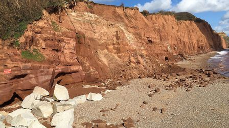 Cliff falls at East Beach, Sidmouth Picture: Philippa Davies