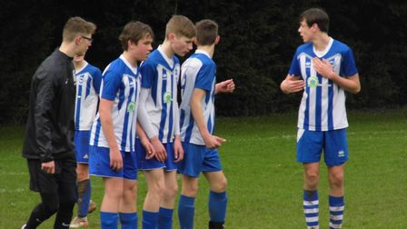 Ottery St Mary U14s during their Devon Cup quarter-final win over Ivybridge. Picture: STEPHEN UPSHER