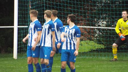Action from Ottery St Mary's 5-0 loss against Watcombe Wanderers. Picture: Sam Cooper