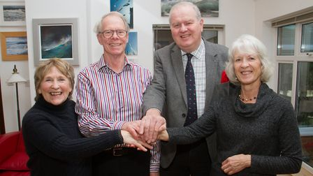 Deirdre Hounsom,Keith Gillanders,Peter McGanley and Di Fuller of Sid Valley Help. Ref shs 02 19TI 81