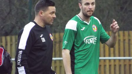 Sidmouth Town's Danny Burwood chats to one of his players during Axminster Town v Sidmouth Town. Pic