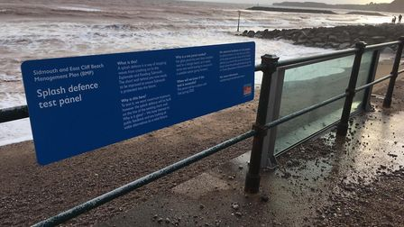 The glass sea wall on Sidmouth seafront after Storm Dennis. Picture: Daniel Clark