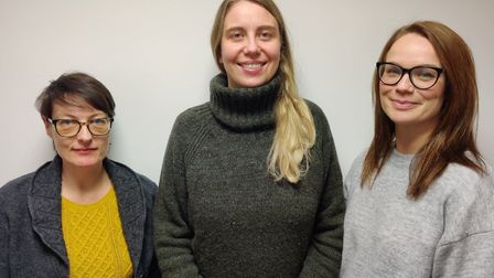 The Family Carer Support Service team, Rhiannon Lawton, Kelly Jones and Emma Lewis. Picture: FCSS