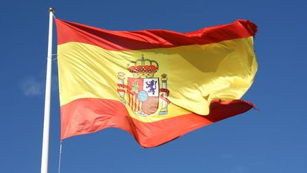 Flag of Spain moving in the wind.