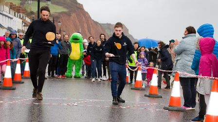 Sid Valley Rotary Club's pancake races Ref shs 08 20TI 8809 Picture: Terry Ife