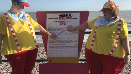 Fundraisers in fancy dress, displaying the poster announcing the cancellations. Picture: Kyle Baker