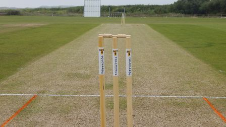 A set of cricket stumps ahead of the start of play in a Tolchards Devon Cricket League match,. Pictu