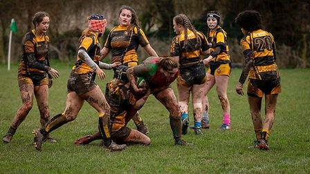 Sidmouth U18 girls in their match at Crediton. Picture: Sidmouth Rugby Club