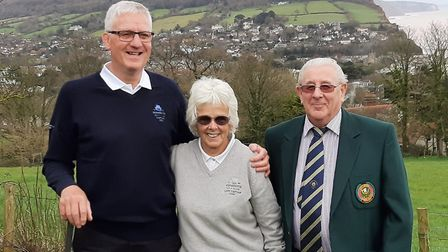 Incoming Sidmouth Golf Club captains Lester Willmington and Penny Lyne with club president John Lewi