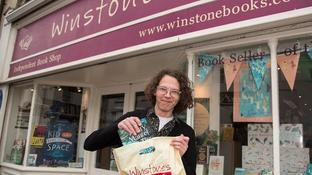 Carl East of Winstone's book shop, now offering delivery Ref shs 12 20TI 7812 Picture: Terry Ife