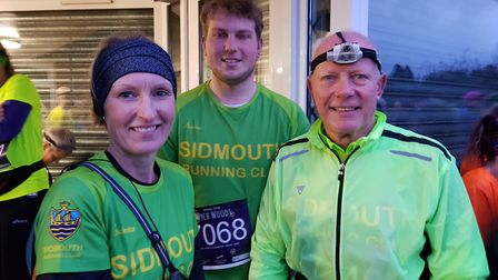 Mighty Greens Sarah Browne (left), Kyle Baker and Terry Bewes, before setting off into the darkness