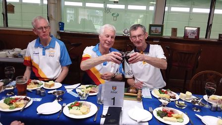 The Sussex Bowls president and Sidmouth captain (right) say 'cheers' during a wonderful day at Sidmo