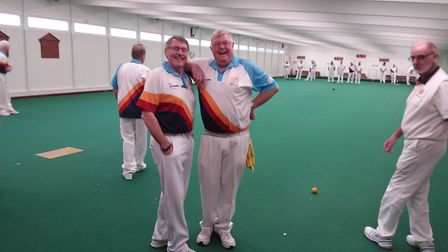 Two of the visiting Sussex bowlers during a break in the action at Sidmouth. Pictuer SBC