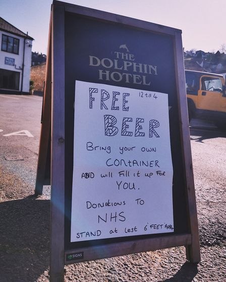 Free beer at The Dolphin Hotel in Beer. Picture: Carly Sienko