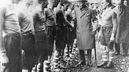 The Duke of Connaught being introduced to the Sidmouth RFC players on his visit in November, 1932. P