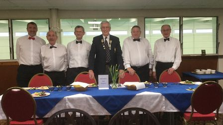 Sidmouth Bowls Club and one of their many social functions. Club president Peter Mison is the gentle