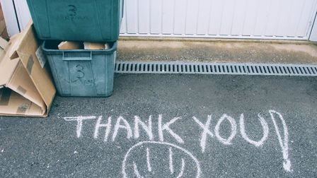 A chalked message to the refuse collectors. Picture: Bev Raw