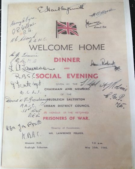 Poster announcing social evening for returning POWs