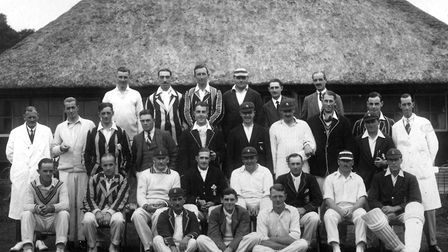 Sidmouth CC versus WT Cook's XI, September 1926. (Back row, left to right) F R Powell, T G Grinter,