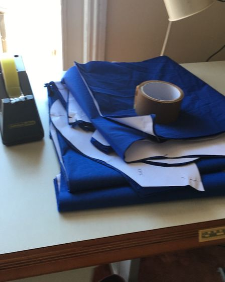 Scrubs in production in Sarah's workroom. Picture: Sarah Yates