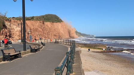 The moments after the cliff fall on Sidmouth East Beach on Monday, April 13, 2020. Picture: George A