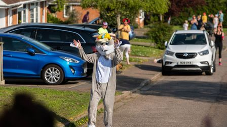 The Easter Bunny at the Fleming Avenue street dance. Picture: Kyle Baker