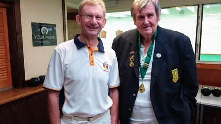 Devon County Indoor President George Mabon (right) with Sidmouth Club Captain Ken Wheeler during a