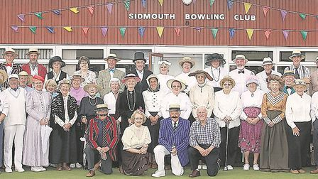 Sidmouth bowlers taking part in the clubs 2008 anniiversary celebrations. Picture SIMON HORN