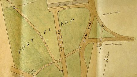 A map showing the Fort Field in 1827. Fortfield is the home of Sidmouth Cricket Club to this very da