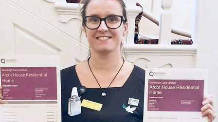 Samantha Evens, senior manager, celebrates Arcot House CQC report. Picture: Doveleigh Care Ltd