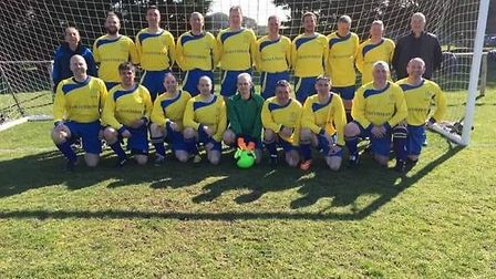 The Golden Boys line up before playing an 11-a-side fixture. Picture; CONTRIBUTED