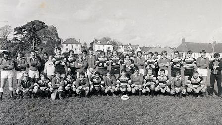 Sidmouth verses the touring Saracens October 1983. Picture SRFC